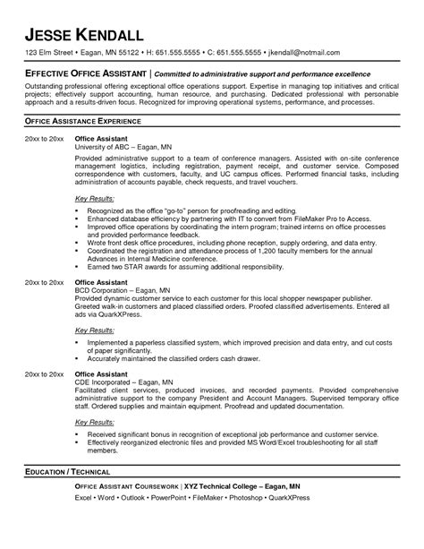 Resume Sles For Office Admin by Office Admin Resume Sles Sle Resumes
