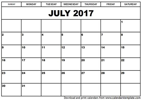 calender outline july 2017 calendar template