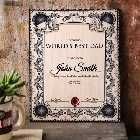 dad certificate  printable    gift