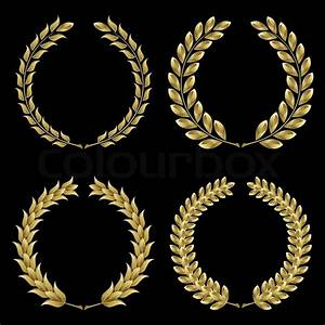 """Set from gold laurel wreath on the black background"