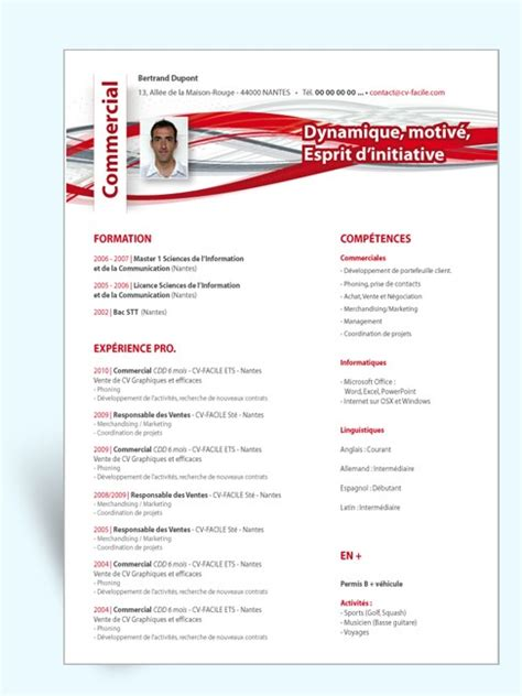 Modele Cv Commercial Word by Modele Cv Commercial Word Codesducambresis