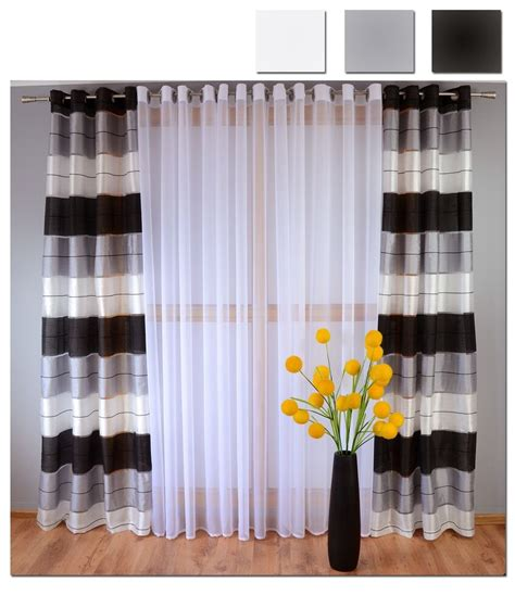 Black And Grey Curtains by Eyelet Ready Made Voile Striped Curtains White Grey Black