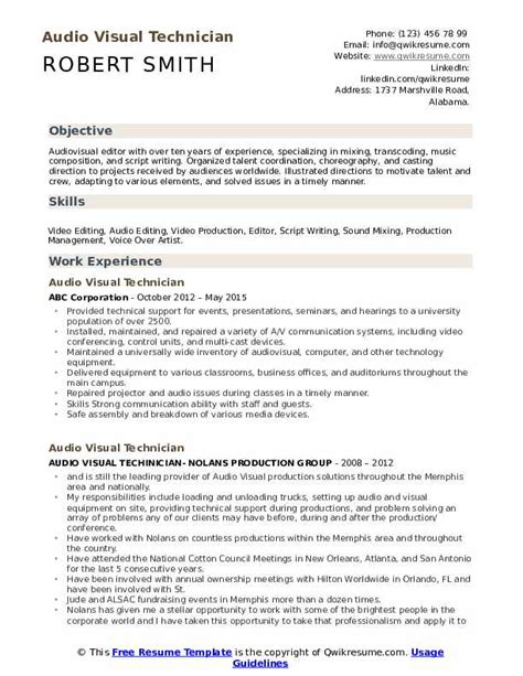 Audio Visual Resume by Audio Visual Technician Resume Sles Qwikresume