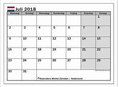 Kalender juli 2018, Nederland