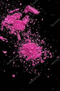 Explosion pink makeup powder on black background — Stock ...