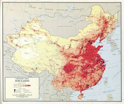 China Map Population Scale Communist Detailed Asia