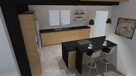 Incroyable Plan De Travail Stratifie Leroy Merlin #17 - Cuisine Moderne Bois Et Noir Style Soft ...