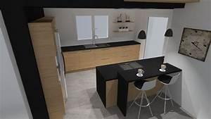 Meuble Bois Et Noir : meuble salon style industriel 12 cuisine moderne bois ~ Dailycaller-alerts.com Idées de Décoration