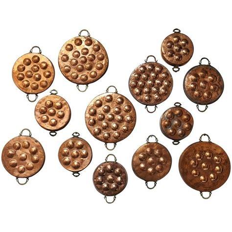 collection  thirteen  century copper egg poacher pans   unique collection
