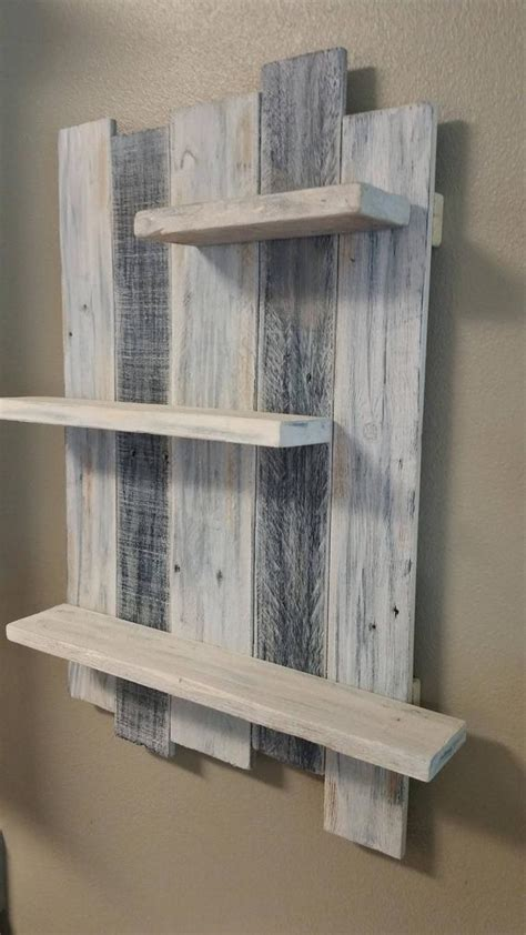 handmade reclaimed white washed wood shelving wall decor