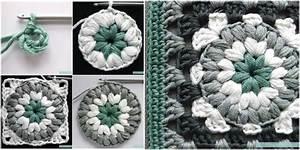 Triple Puff Granny Square  Free Crochet Pattern