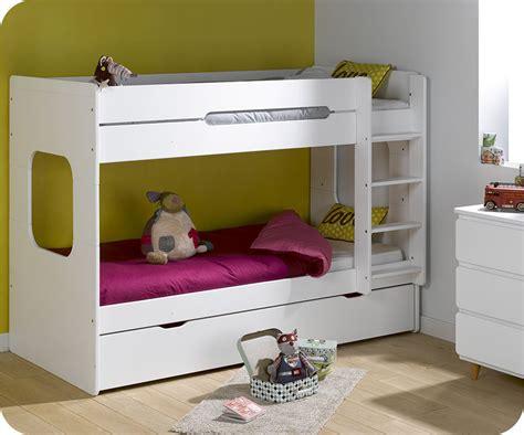 photo de lit superpose lit superpos 233 spark blanc 90x200 cm avec sommier gigogne blanc