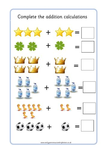 picture addition worksheet by brightstarseyr teaching