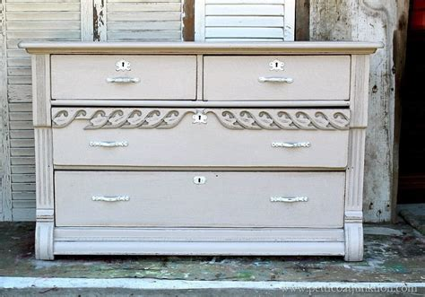 pretty paint finish for an antique dresser before and