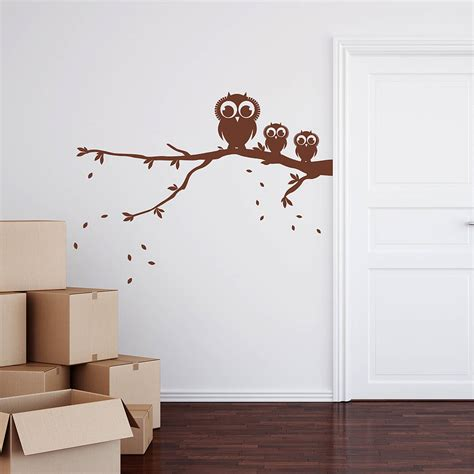 owls on a branch wall sticker by spin collective notonthehighstreet com