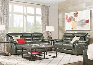 239999 Bennato Gray Leather 3 Pc Living Room With