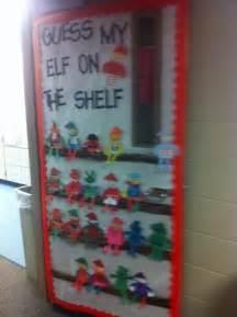 run teacher run elf on the shelf door decorating idea