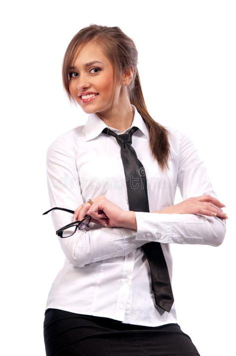 beautiful girl secretary  glasses stock photo image