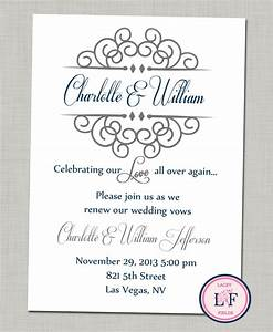 Celebrating our love printable invite anniversary party for Free printable wedding vow renewal invitations