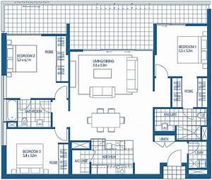 3 bedroom floorplans harbour lights cairns apartment With 3 bedroom flat house plan