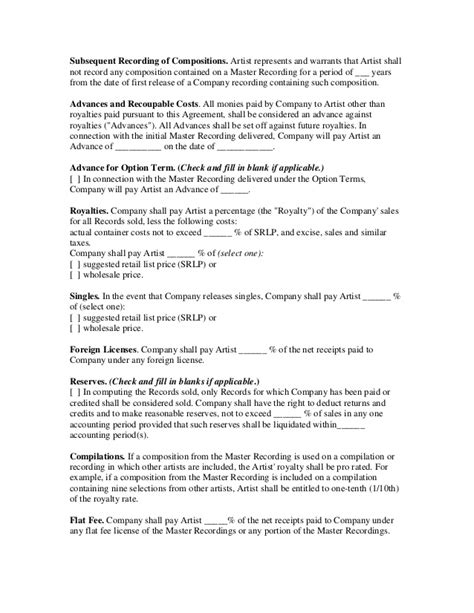 recording contract independent label recording contract