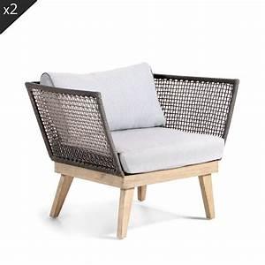 Fauteuil Jardin Bois : lot de 2 fauteuils de jardin bois et corde m kong by drawer ~ Teatrodelosmanantiales.com Idées de Décoration
