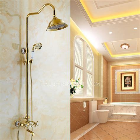 European Style Vintage Handle Ceramic Brass Shower Faucet