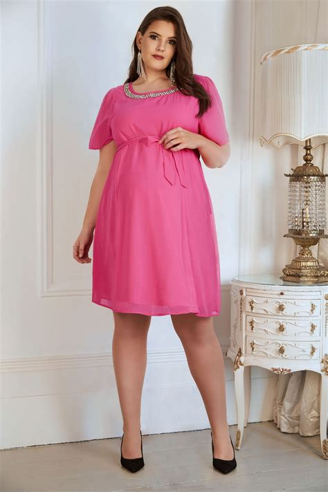 Bump It Up Maternity Rosa Chiffon Kleid Mit Taillenbund