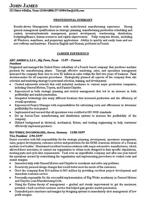 manufacturing executive resume examples resume summary
