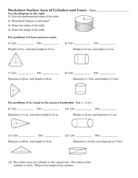16 Best Images Of Cone Cylinder And Sphere Worksheet  Surface Area Cylinder Worksheet, Cone