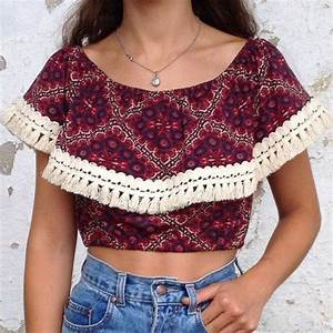 top t-shirt native american pompom pompoms crop tops ...