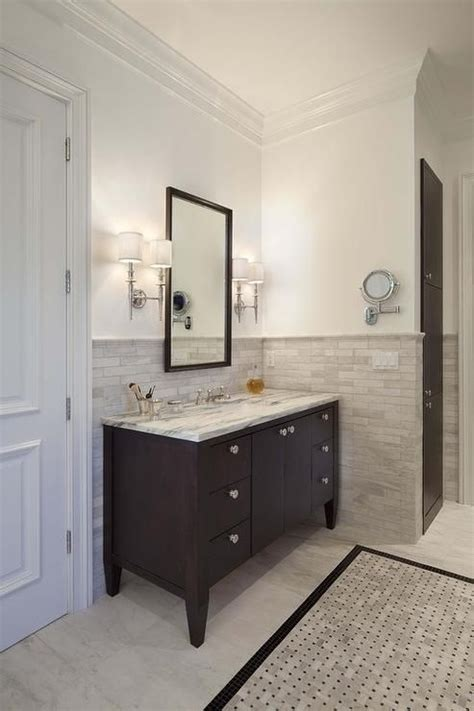 bathroom vanity tile ideas halhf tile wall with vanity tiled border espresso