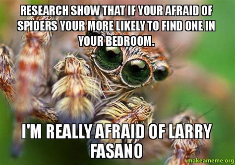 Afraid Of Spiders Meme - research show that if your afraid of spiders your more likely to find one in your bedroom i m