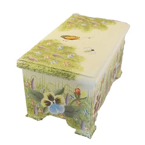 Decorative Box Pansy Design Wooden Boxes Hinged Lid Home