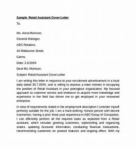 sample retail cover letter template 9 download free With covering letter for sales assistant