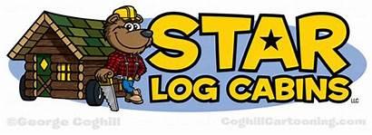 Log Cabin Cartoon Bear Lumberjack Cabins Star