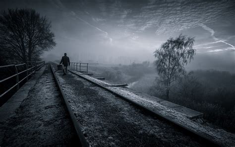 Nature, Landscape, Railway, Trees, Mist, Sunrise, Walking