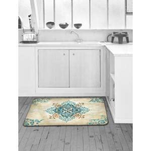 kitchen floor mats designer home dynamix designer chef blue arabesque 24 in x 36 in 4785