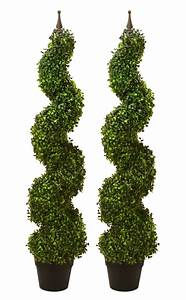 """2 ARTIFICIAL 47"""" BOXWOOD SPIRAL TOPIARY IN OUTDOOR TREE"""