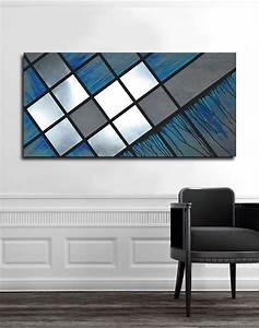 buy made blue grid 48x24 abstract painting wood