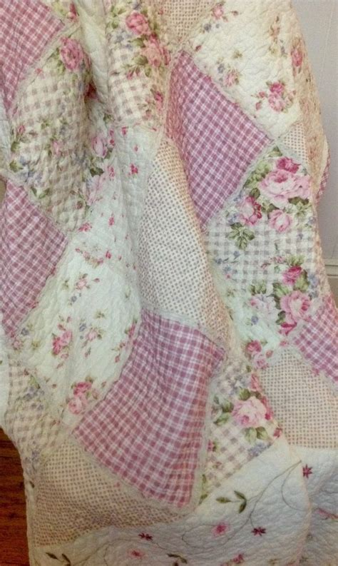 shabby chic pink blanket shabby chic french country throw quilt rug blanket pink off white cushion cover ebay