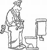 Plumber Coloring Toilet Pages Professions Plumbing Printable Clipart Profession sketch template