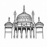 Brighton Pavilion Colouring Coloring Sheets Sketch Mosque Sheet Printable Landmarks Template sketch template