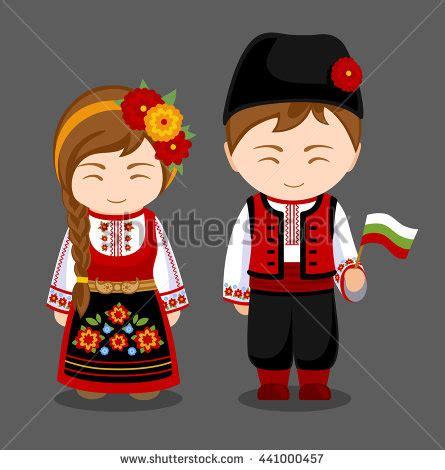 bulgarians national dress flag stock vector 441000457