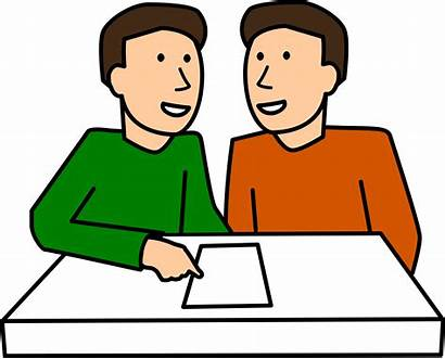 Clipart Students Partner Together Student Discussion Working