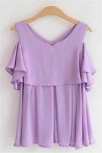 Jeans And Light Blue Shirt Light Purple Layered Pleated Bare Shoulder Blouse 007556