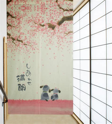 happiness cherry blossom and dogs japanese noren door