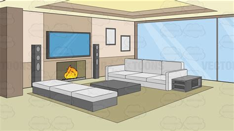 modern comfy living room background clipart cartoons
