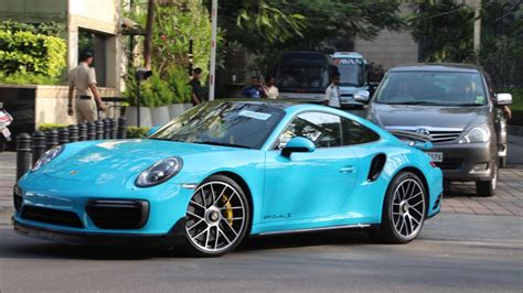miami blue porsche turbo s miami blue porsche 991 2 911 turbo s bangalore youtube