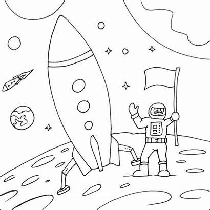 Space Coloring Moon Landing Pages Colouring Spaceship